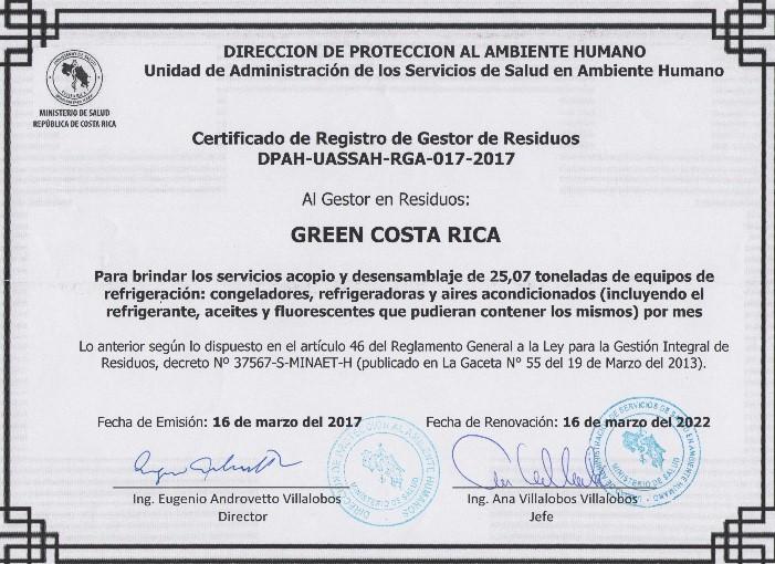Estamos avalados ante del Ministerio de Salud y el Ministerio del Ambiente